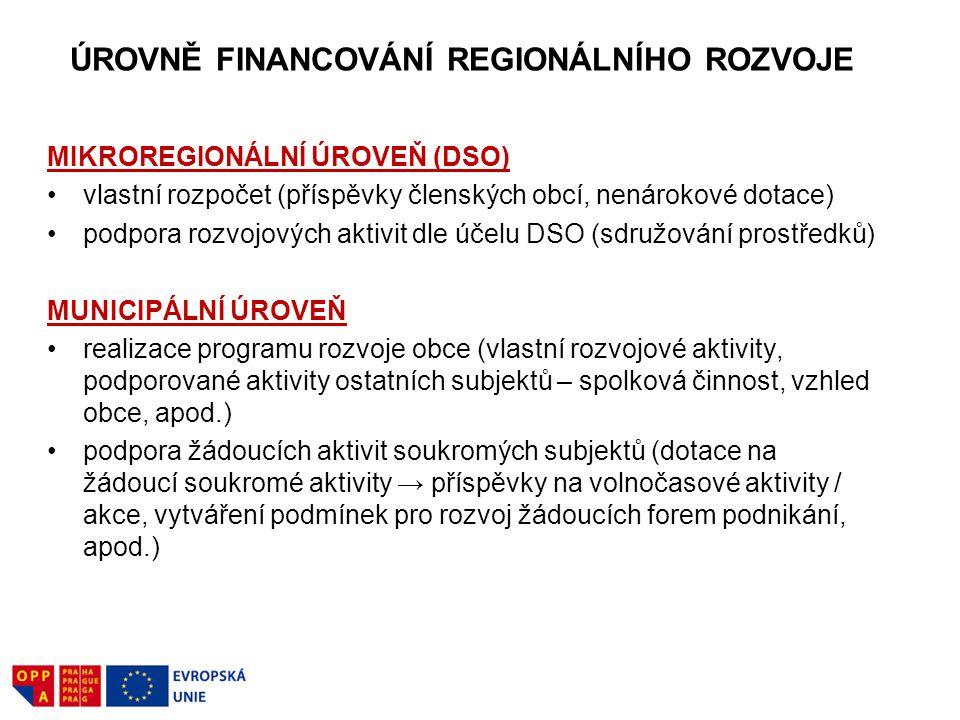 ÚROVNĚ FINANCOVÁNÍ REGIONÁLNÍHO ROZVOJE MIKROREGIONÁLNÍ ÚROVEŇ (DSO) vlastní rozpočet (příspěvky členských obcí, nenárokové dotace) podpora rozvojovýc