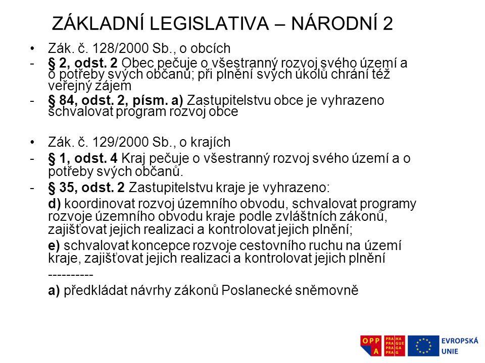 ZÁKLADNÍ LEGISLATIVA – NÁRODNÍ 2 Zák.č. 128/2000 Sb., o obcích -§ 2, odst.