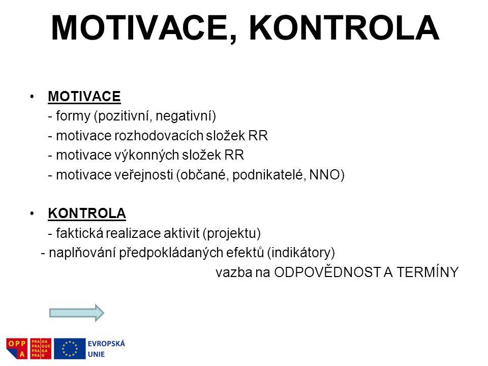 MOTIVACE, KONTROLA MOTIVACE - formy (pozitivní, negativní) - motivace rozhodovacích složek RR - motivace výkonných složek RR - motivace veřejnosti (občané, podnikatelé, NNO) KONTROLA - faktická realizace aktivit (projektu) - naplňování předpokládaných efektů (indikátory) vazba na ODPOVĚDNOST A TERMÍNY