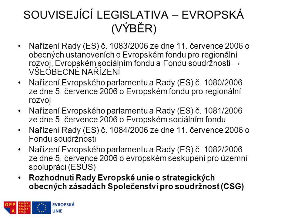SOUVISEJÍCÍ LEGISLATIVA – EVROPSKÁ (VÝBĚR) Nařízení Rady (ES) č.