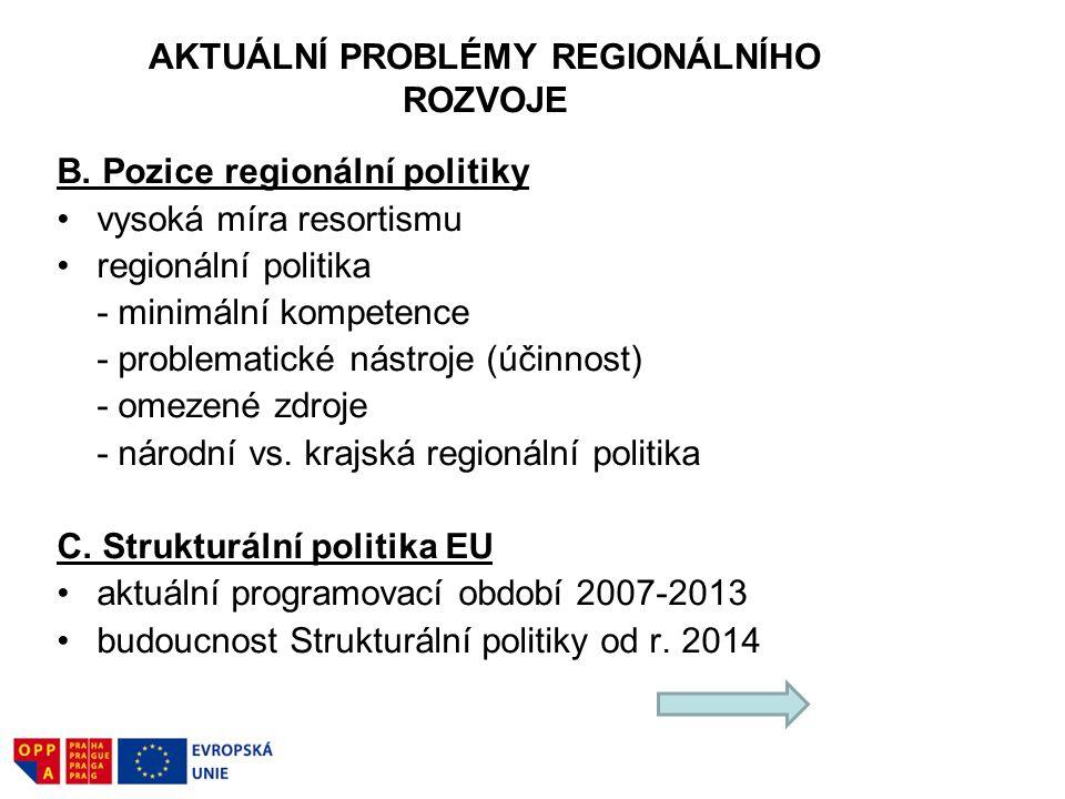 AKTUÁLNÍ PROBLÉMY REGIONÁLNÍHO ROZVOJE B. Pozice regionální politiky vysoká míra resortismu regionální politika - minimální kompetence - problematické