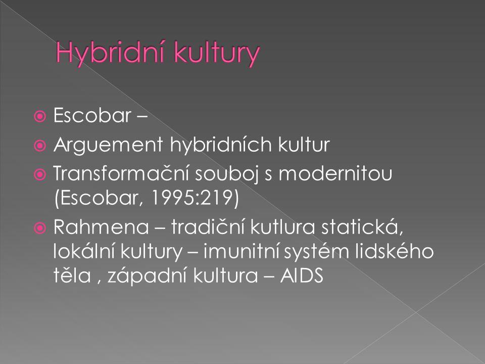  Escobar –  Arguement hybridních kultur  Transformační souboj s modernitou (Escobar, 1995:219)  Rahmena – tradiční kutlura statická, lokální kultury – imunitní systém lidského těla, západní kultura – AIDS