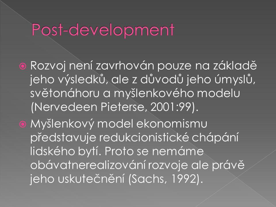  Rozvoj není zavrhován pouze na základě jeho výsledků, ale z důvodů jeho úmyslů, světonáhoru a myšlenkového modelu (Nervedeen Pieterse, 2001:99).