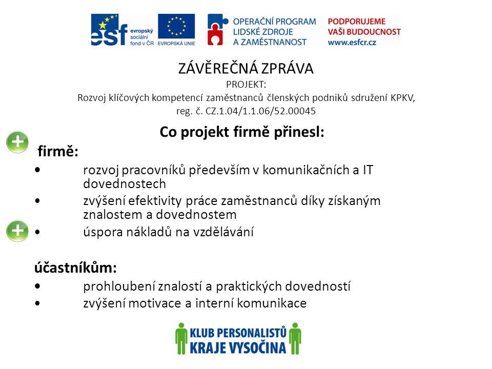 ZÁVĚREČNÁ ZPRÁVA PROJEKT: Rozvoj klíčových kompetencí zaměstnanců členských podniků sdružení KPKV, reg. č. CZ.1.04/1.1.06/52.00045 Co projekt firmě př