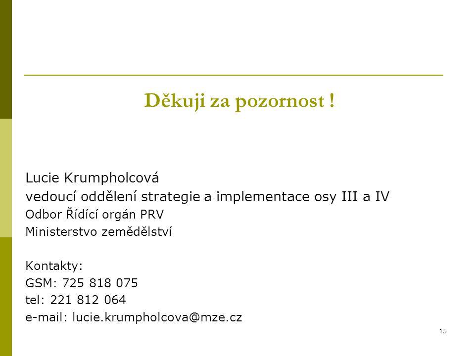 Děkuji za pozornost ! Lucie Krumpholcová vedoucí oddělení strategie a implementace osy III a IV Odbor Řídící orgán PRV Ministerstvo zemědělství Kontak