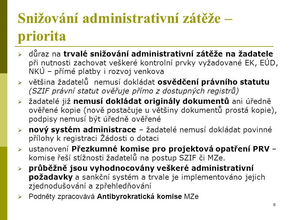 Snižování administrativní zátěže – priorita  důraz na trvalé snižování administrativní zátěže na žadatele při nutnosti zachovat veškeré kontrolní prv