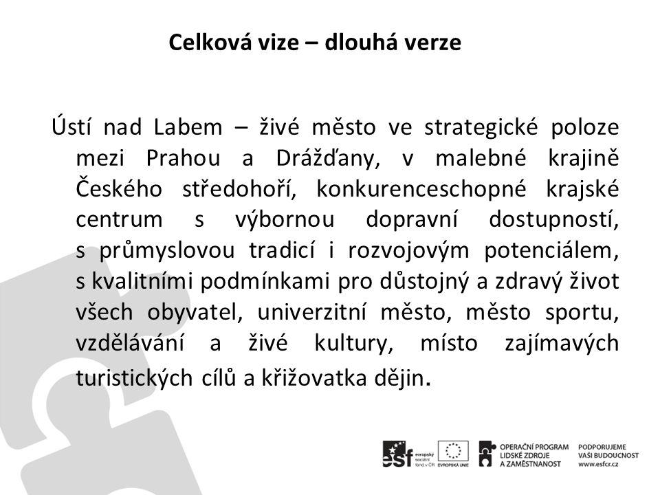 Celková vize – dlouhá verze Ústí nad Labem – živé město ve strategické poloze mezi Prahou a Drážďany, v malebné krajině Českého středohoří, konkurence