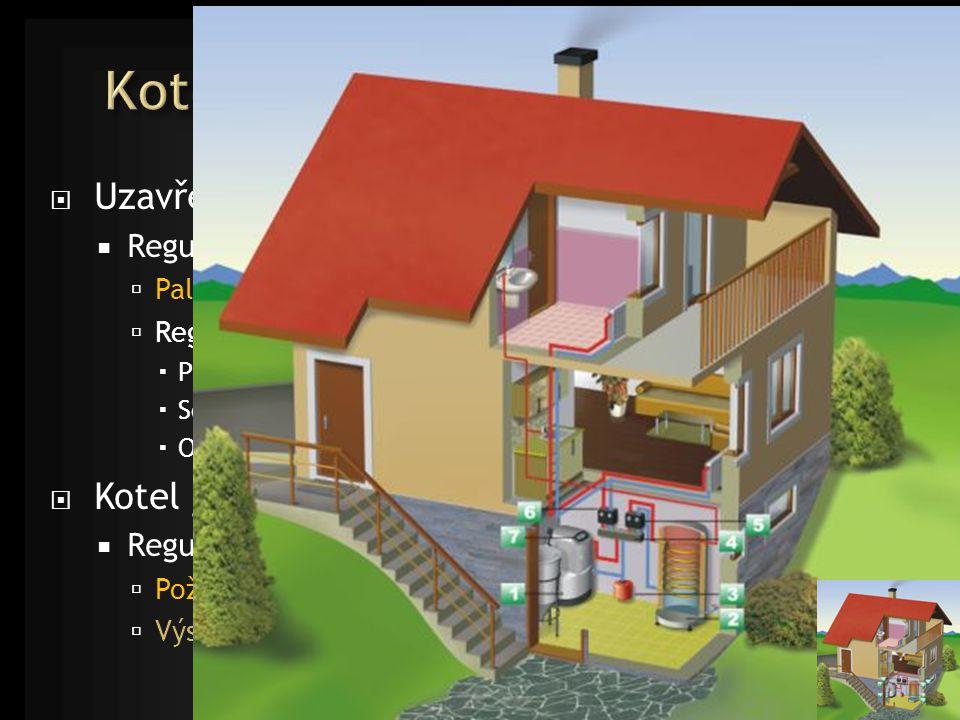  Uzavřené ohniště - topeniště  Regulace  Palivo – přísun, kontinuálně x dávkově  Regulace přívodu spalovacího vzduchu a/nebo odvodu spalin  Primární vzduch  Sekundární (terciární)  Odvod spalin  Kotel jako součást systému vytápění  Regulace (s/bez akumulace)  Požadovaný výkon – tepelná ztráta objektu  Výstupní teplota
