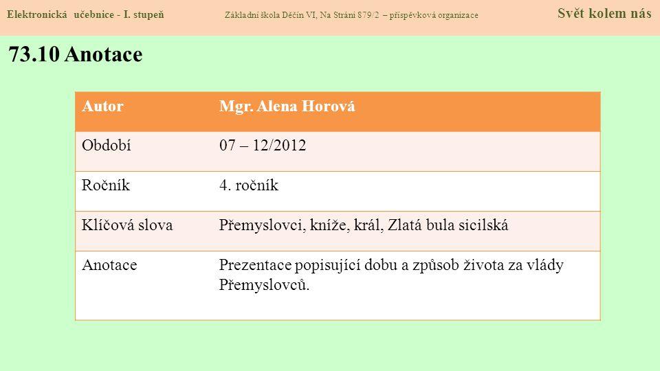 Elektronická učebnice - I. stupeň Základní škola Děčín VI, Na Stráni 879/2 – příspěvková organizace Svět kolem nás 73.10 Anotace AutorMgr. Alena Horov