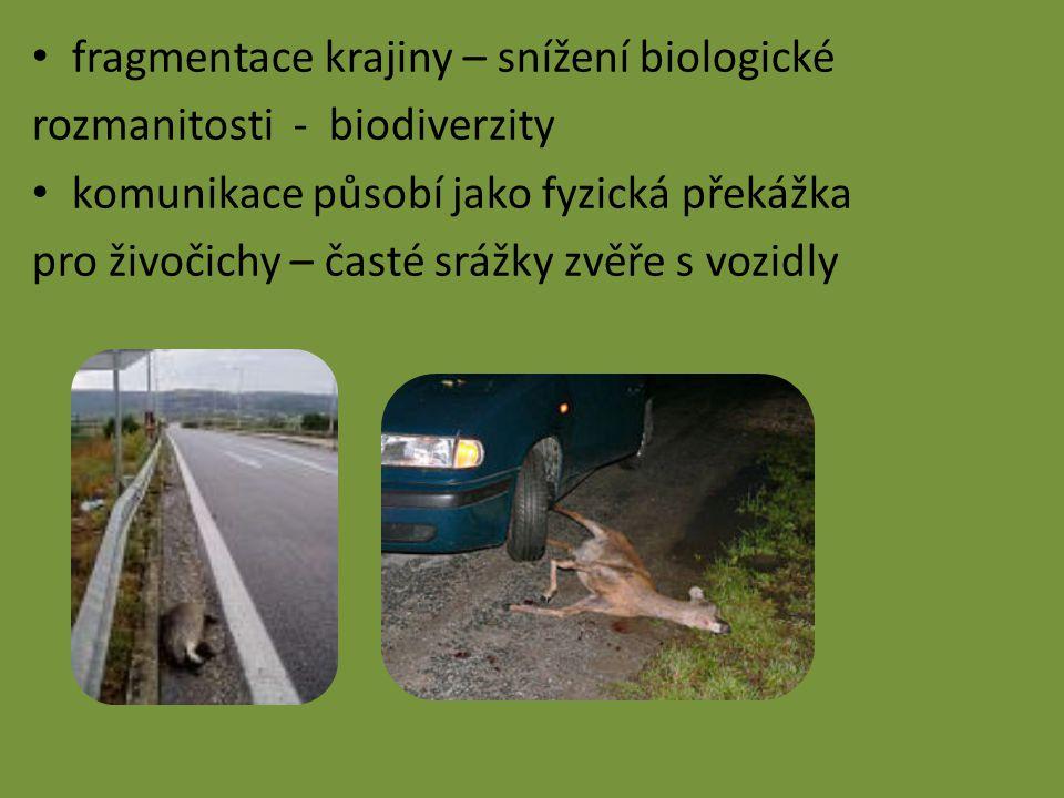 fragmentace krajiny – snížení biologické rozmanitosti - biodiverzity komunikace působí jako fyzická překážka pro živočichy – časté srážky zvěře s vozidly