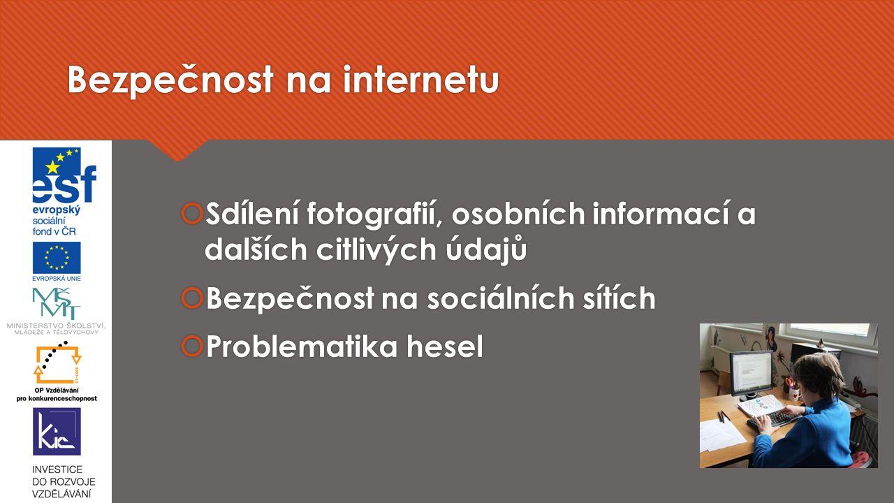 Bezpečnost na internetu  Sdílení fotografií, osobních informací a dalších citlivých údajů  Bezpečnost na sociálních sítích  Problematika hesel  Sdílení fotografií, osobních informací a dalších citlivých údajů  Bezpečnost na sociálních sítích  Problematika hesel