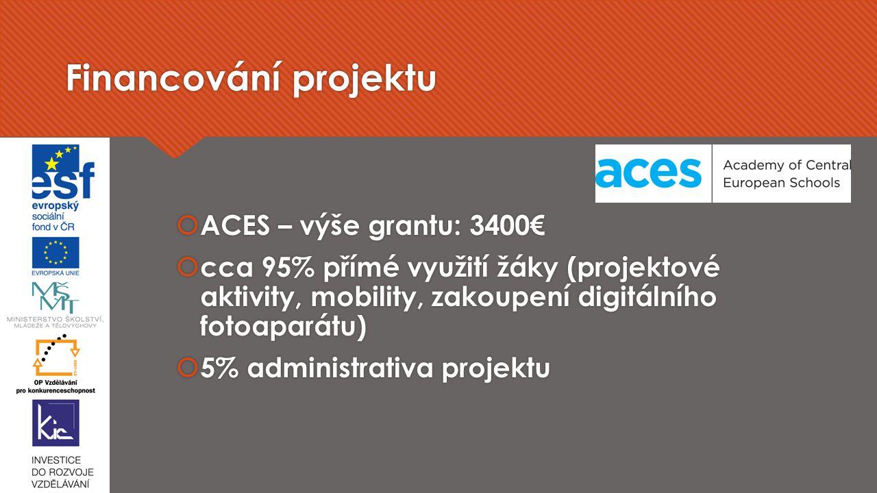 Financování projektu  ACES – výše grantu: 3400€  cca 95% přímé využití žáky (projektové aktivity, mobility, zakoupení digitálního fotoaparátu)  5% administrativa projektu  ACES – výše grantu: 3400€  cca 95% přímé využití žáky (projektové aktivity, mobility, zakoupení digitálního fotoaparátu)  5% administrativa projektu