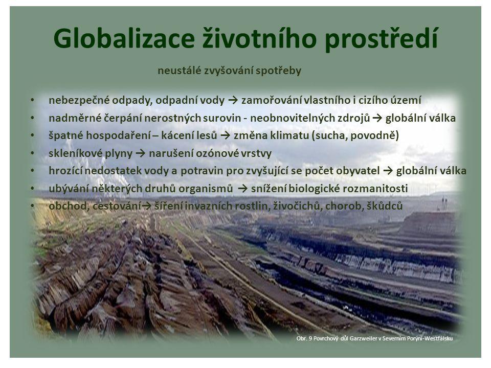 Globalizace životního prostředí nebezpečné odpady, odpadní vody → zamořování vlastního i cizího území nadměrné čerpání nerostných surovin - neobnovite