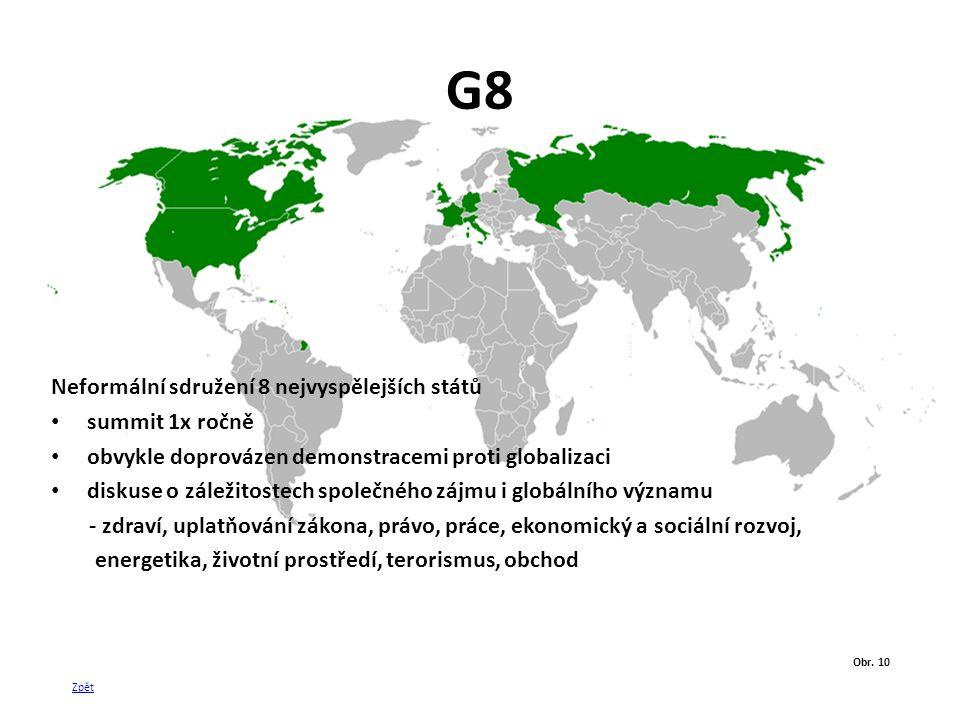 G8 Neformální sdružení 8 nejvyspělejších států summit 1x ročně obvykle doprovázen demonstracemi proti globalizaci diskuse o záležitostech společného z