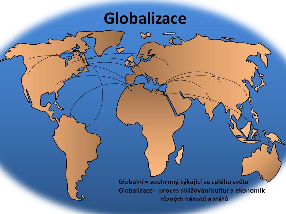 Globalizace Globální = souhrnný, týkající se celého světa Globalizace = proces sbližování kultur a ekonomik různých národů a států