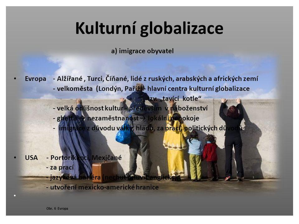 Kulturní globalizace Obr. 6 Evropa Evropa - Alžířané, Turci, Číňané, lidé z ruských, arabských a afrických zemí - velkoměsta (Londýn, Paříž) - hlavní