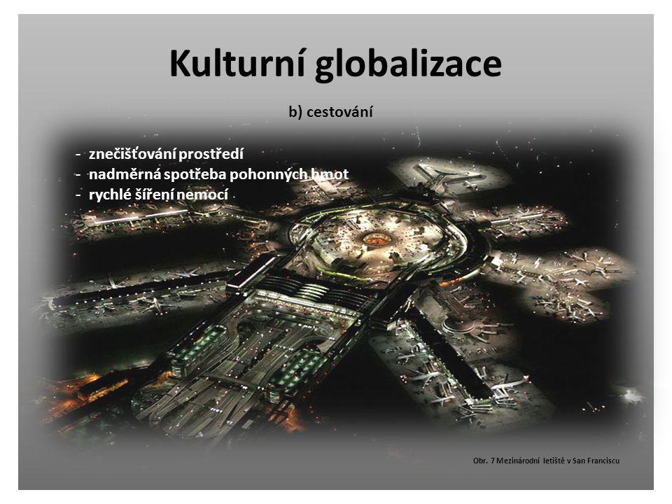 Kulturní globalizace - znečišťování prostředí - nadměrná spotřeba pohonných hmot - rychlé šíření nemocí Obr. 7 Mezinárodní letiště v San Franciscu b)