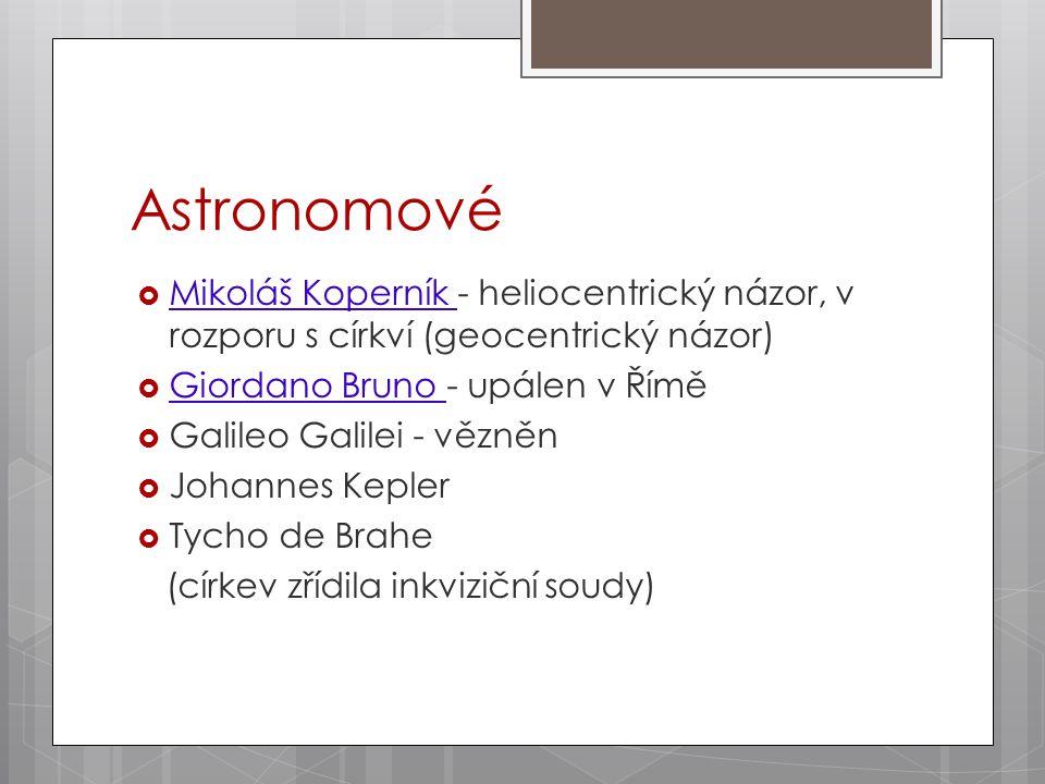 Astronomové  Mikoláš Koperník - heliocentrický názor, v rozporu s církví (geocentrický názor)  Giordano Bruno - upálen v Římě  Galileo Galilei - vězněn  Johannes Kepler  Tycho de Brahe (církev zřídila inkviziční soudy)