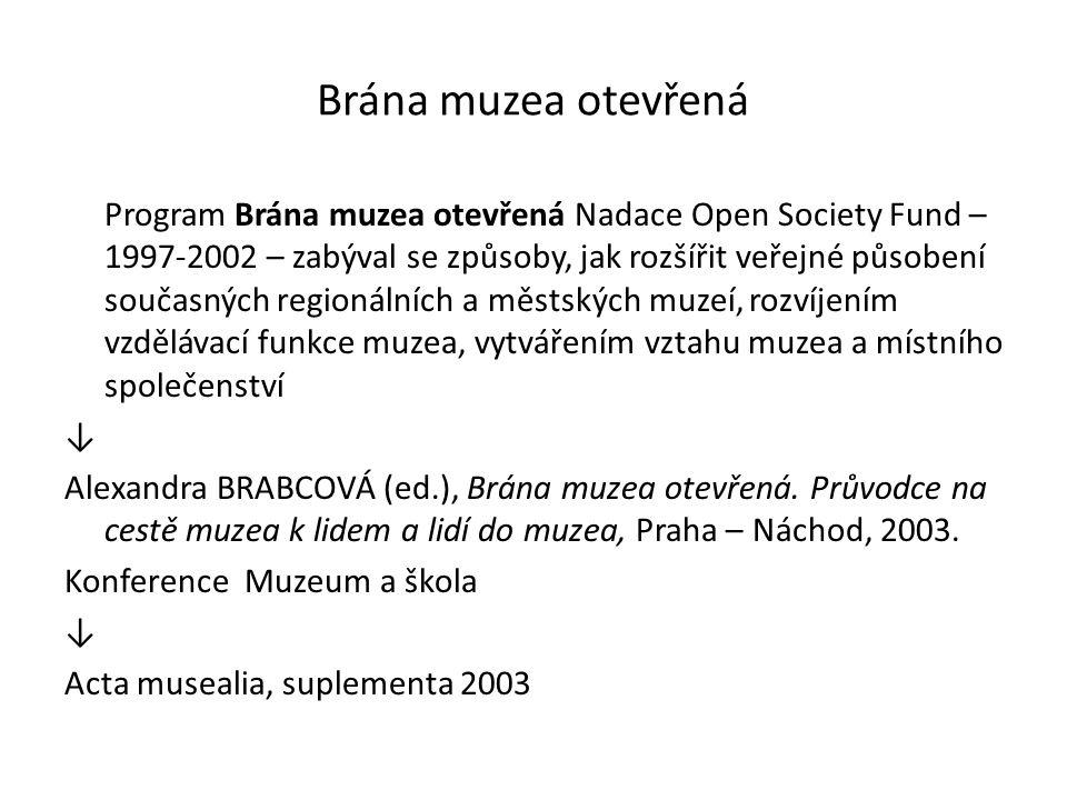 Brána muzea otevřená Program Brána muzea otevřená Nadace Open Society Fund – 1997-2002 – zabýval se způsoby, jak rozšířit veřejné působení současných