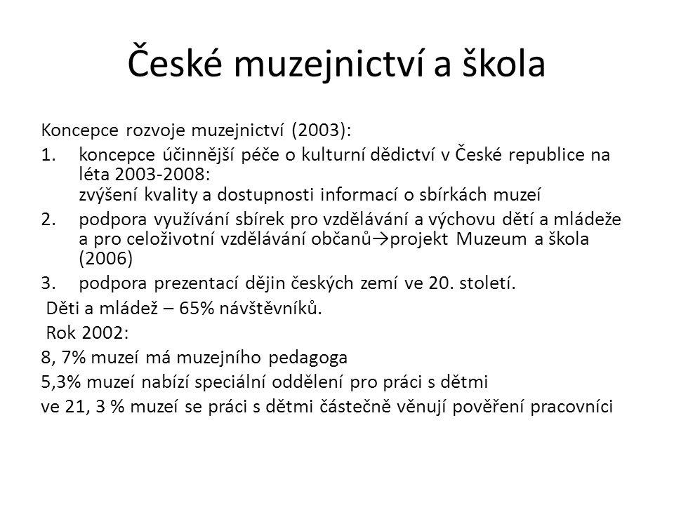 České muzejnictví a škola Koncepce rozvoje muzejnictví (2003): 1.koncepce účinnější péče o kulturní dědictví v České republice na léta 2003-2008: zvýš
