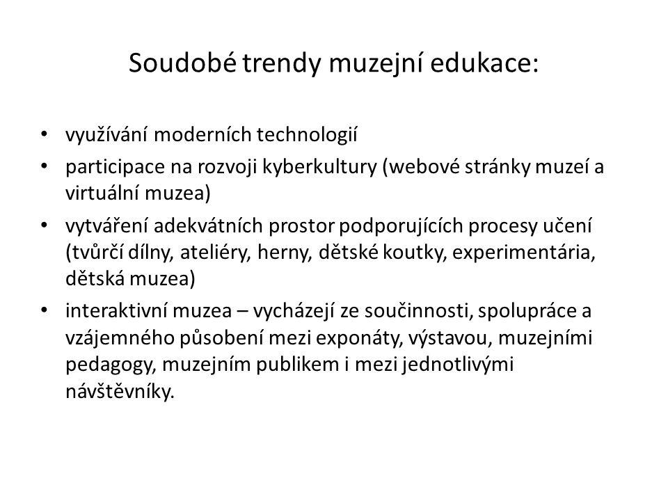 Soudobé trendy muzejní edukace: využívání moderních technologií participace na rozvoji kyberkultury (webové stránky muzeí a virtuální muzea) vytváření