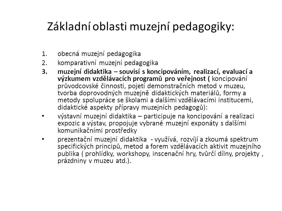 Základní oblasti muzejní pedagogiky: 1.obecná muzejní pedagogika 2.komparativní muzejní pedagogika 3.muzejní didaktika – souvisí s koncipováním, reali