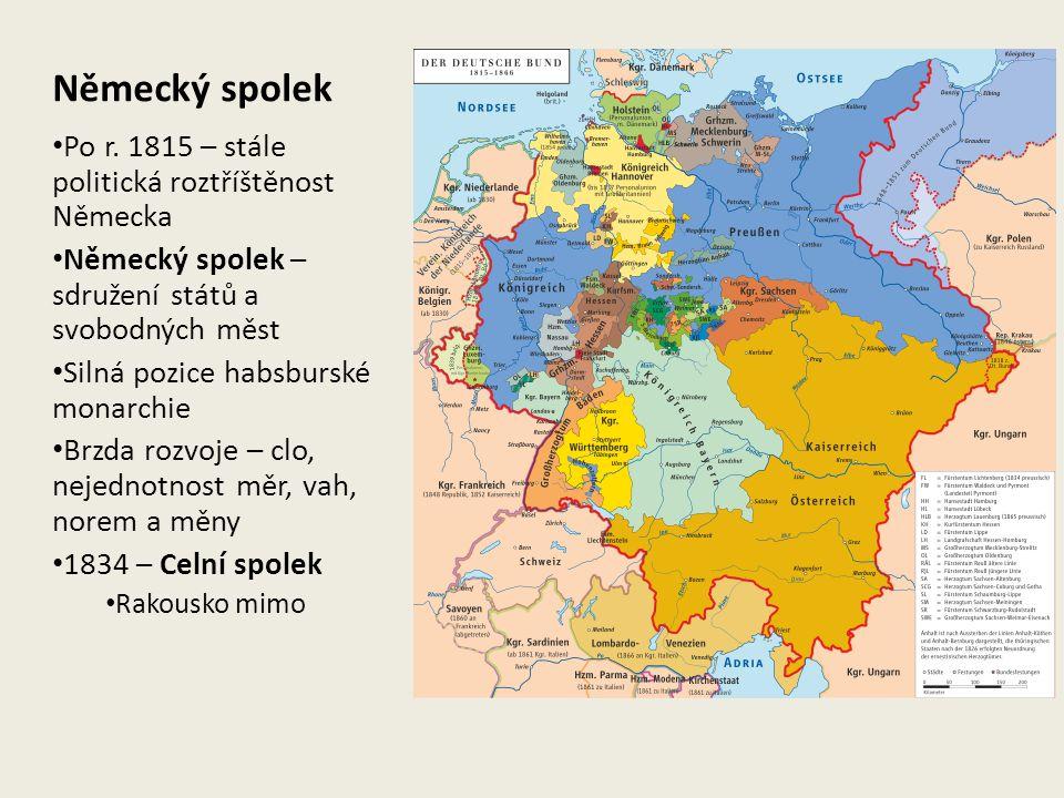 Německý spolek Po r. 1815 – stále politická roztříštěnost Německa Německý spolek – sdružení států a svobodných měst Silná pozice habsburské monarchie