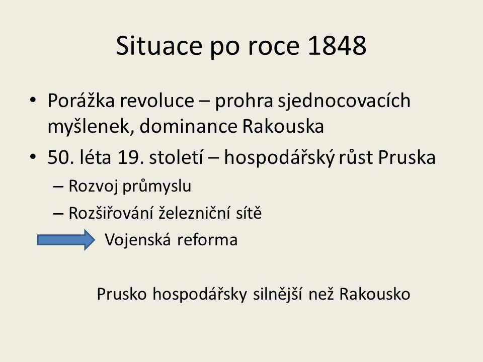 Situace po roce 1848 Porážka revoluce – prohra sjednocovacích myšlenek, dominance Rakouska 50. léta 19. století – hospodářský růst Pruska – Rozvoj prů