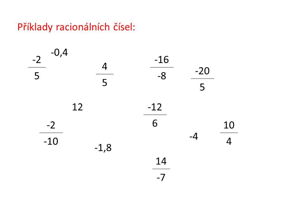 Příklady racionálních čísel: -2 5 -20 5 4 5 10 4 -12 6 14 -7 -2 -10 -16 -8 -0,4 -1,8 12 -4