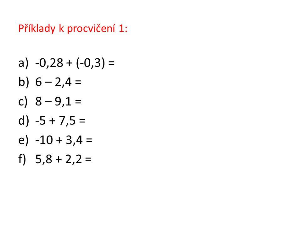 Příklady k procvičení 1: a)-0,28 + (-0,3) = b)6 – 2,4 = c)8 – 9,1 = d)-5 + 7,5 = e)-10 + 3,4 = f)5,8 + 2,2 =