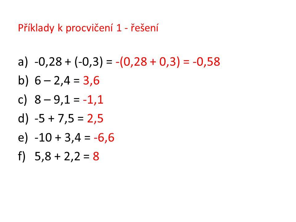 Příklady k procvičení 1 - řešení a)-0,28 + (-0,3) = -(0,28 + 0,3) = -0,58 b)6 – 2,4 = 3,6 c)8 – 9,1 = -1,1 d)-5 + 7,5 = 2,5 e)-10 + 3,4 = -6,6 f)5,8 +