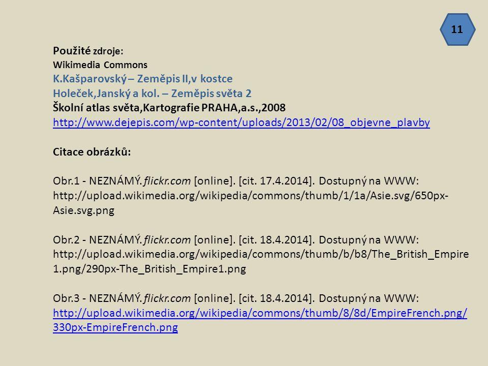 Použité zdroje: Wikimedia Commons K.Kašparovský – Zeměpis II,v kostce Holeček,Janský a kol. – Zeměpis světa 2 Školní atlas světa,Kartografie PRAHA,a.s