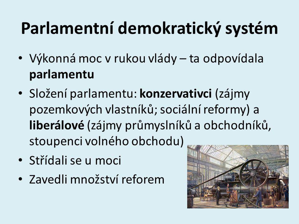 Parlamentní demokratický systém Výkonná moc v rukou vlády – ta odpovídala parlamentu Složení parlamentu: konzervativci (zájmy pozemkových vlastníků; s