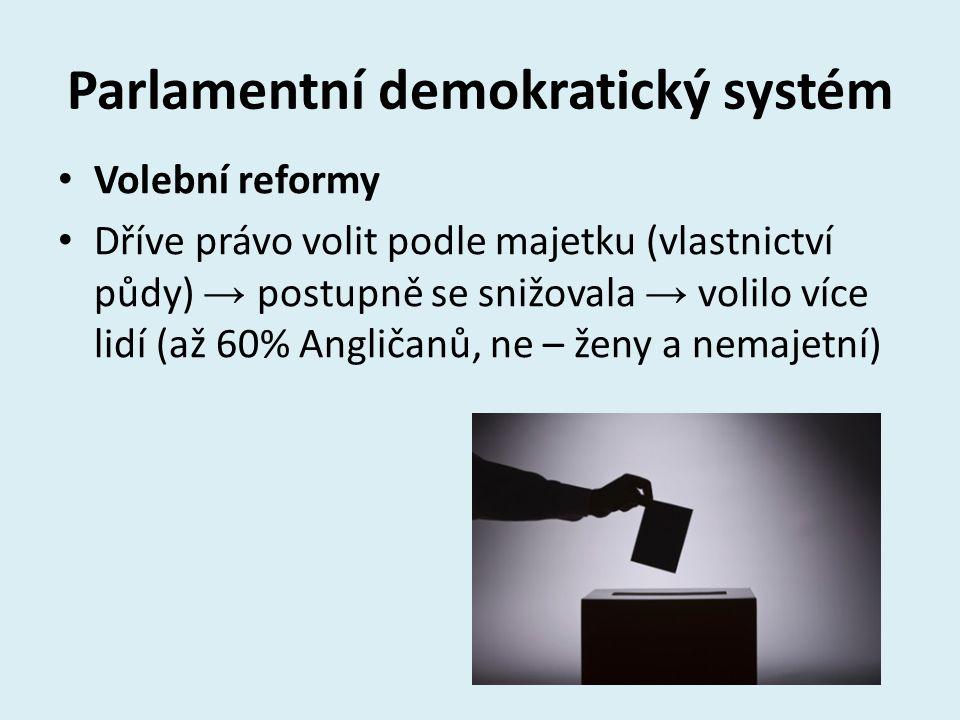 Parlamentní demokratický systém Volební reformy Dříve právo volit podle majetku (vlastnictví půdy) → postupně se snižovala → volilo více lidí (až 60%