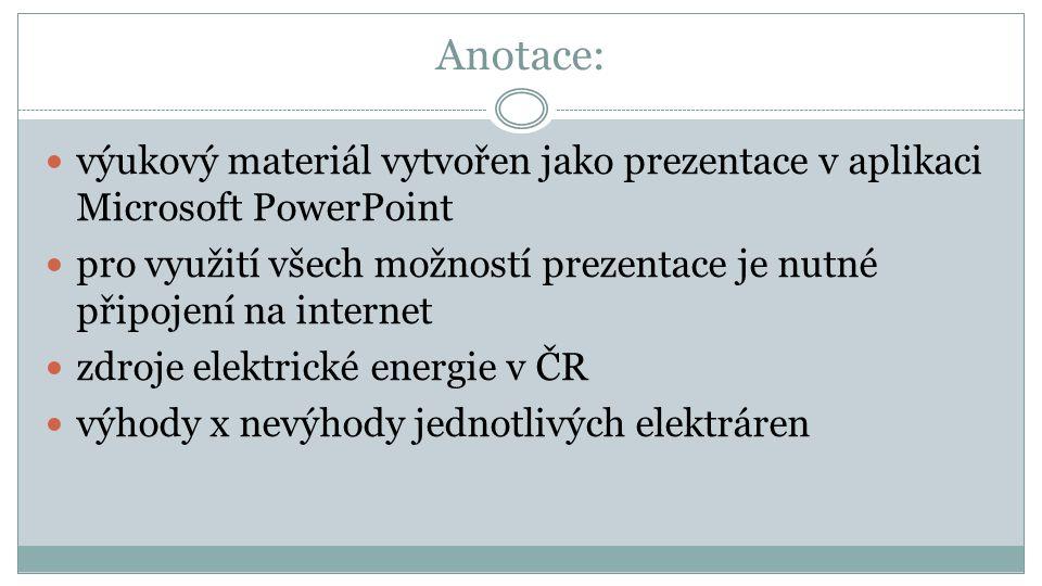 PRŮMYSL ENERGETICKÝ Hospodářství ČR