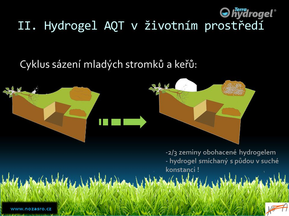 II. Hydrogel AQT v životním prostředí Cyklus sázení mladých stromků a keřů: -2/3 zeminy obohacené hydrogelem - hydrogel smíchaný s půdou v suché konst