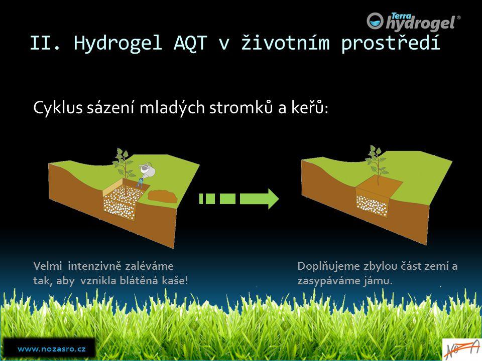 II. Hydrogel AQT v životním prostředí Cyklus sázení mladých stromků a keřů: Velmi intenzivně zaléváme tak, aby vznikla blátěná kaše! Doplňujeme zbylou