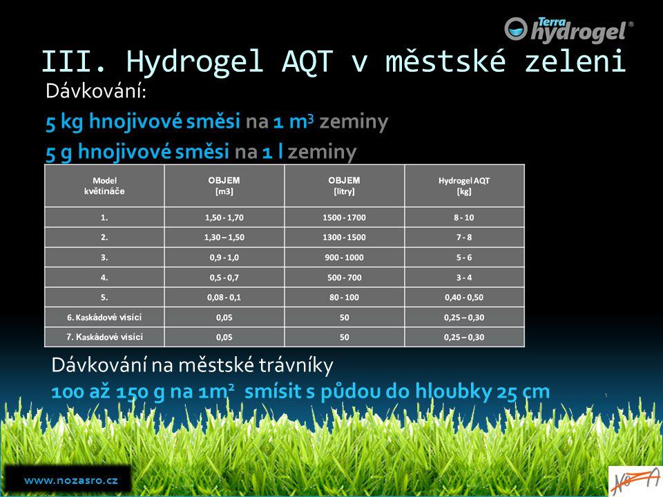 III. Hydrogel AQT v městské zeleni Dávkování: 5 kg hnojivové směsi na 1 m 3 zeminy 5 g hnojivové směsi na 1 l zeminy Dávkování na městské trávníky 100