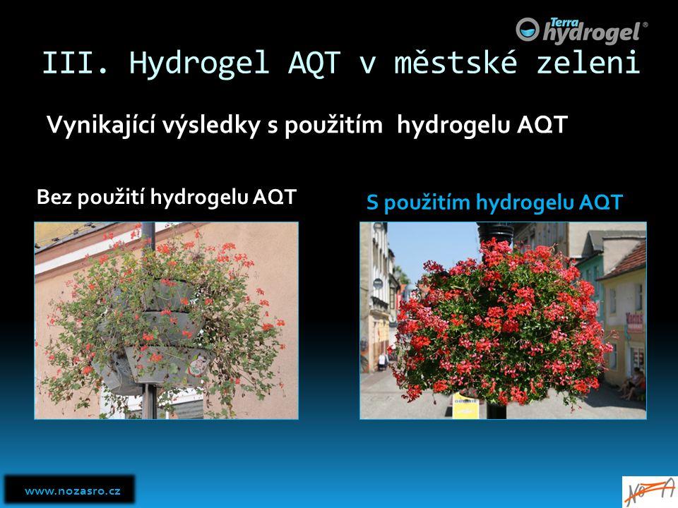III. Hydrogel AQT v městské zeleni Vynikající výsledky s použitím hydrogelu AQT Bez použití hydrogelu AQT S použitím hydrogelu AQT www.nozasro.cz www.