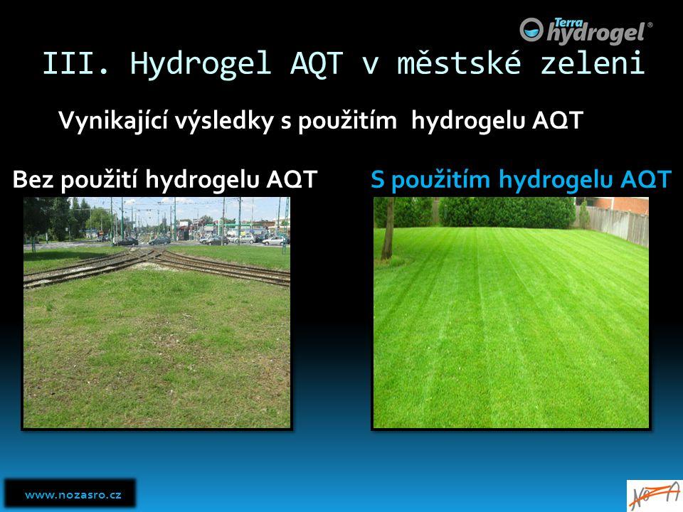III. Hydrogel AQT v městské zeleni Bez použití hydrogelu AQT S použitím hydrogelu AQT Vynikající výsledky s použitím hydrogelu AQT www.nozasro.cz www.
