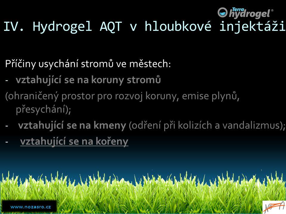 IV. Hydrogel AQT v hloubkové injektáži Příčiny usychání stromů ve městech: - vztahující se na koruny stromů (ohraničený prostor pro rozvoj koruny, emi