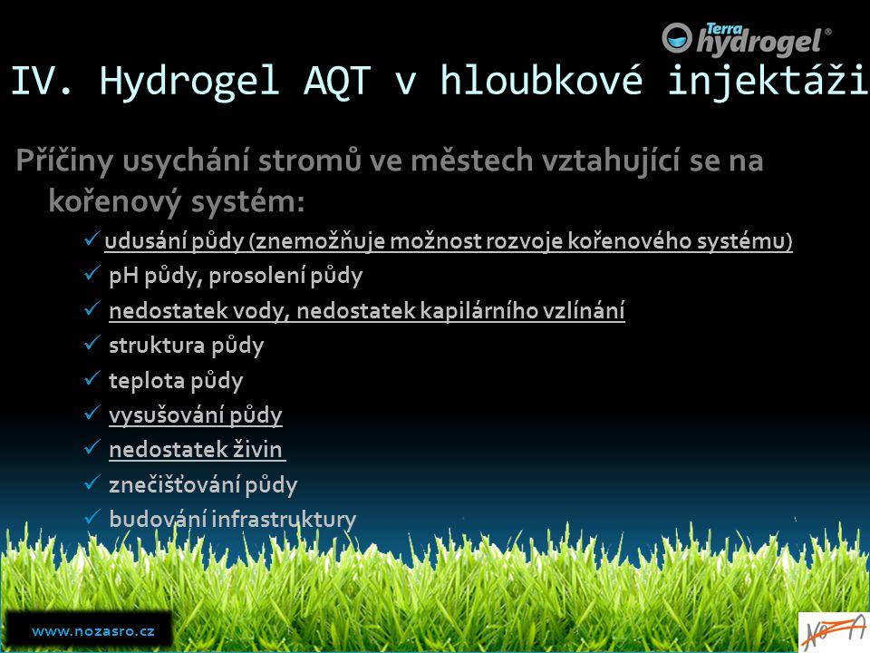 IV. Hydrogel AQT v hloubkové injektáži Příčiny usychání stromů ve městech vztahující se na kořenový systém: udusání půdy (znemožňuje možnost rozvoje k