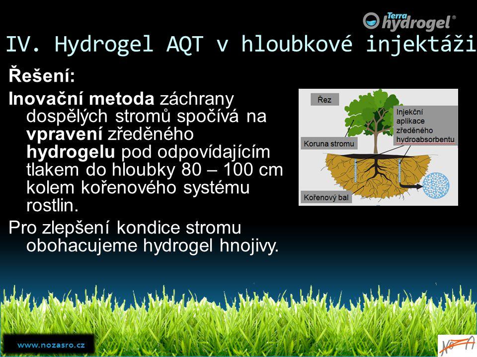IV. Hydrogel AQT v hloubkové injektáži Řešení: Inovační metoda záchrany dospělých stromů spočívá na vpravení zředěného hydrogelu pod odpovídajícím tla