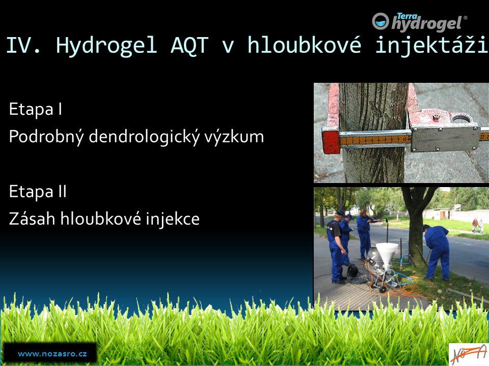 IV. Hydrogel AQT v hloubkové injektáži Etapa I Podrobný dendrologický výzkum Etapa II Zásah hloubkové injekce www.nozasro.cz www.nozasro.cz
