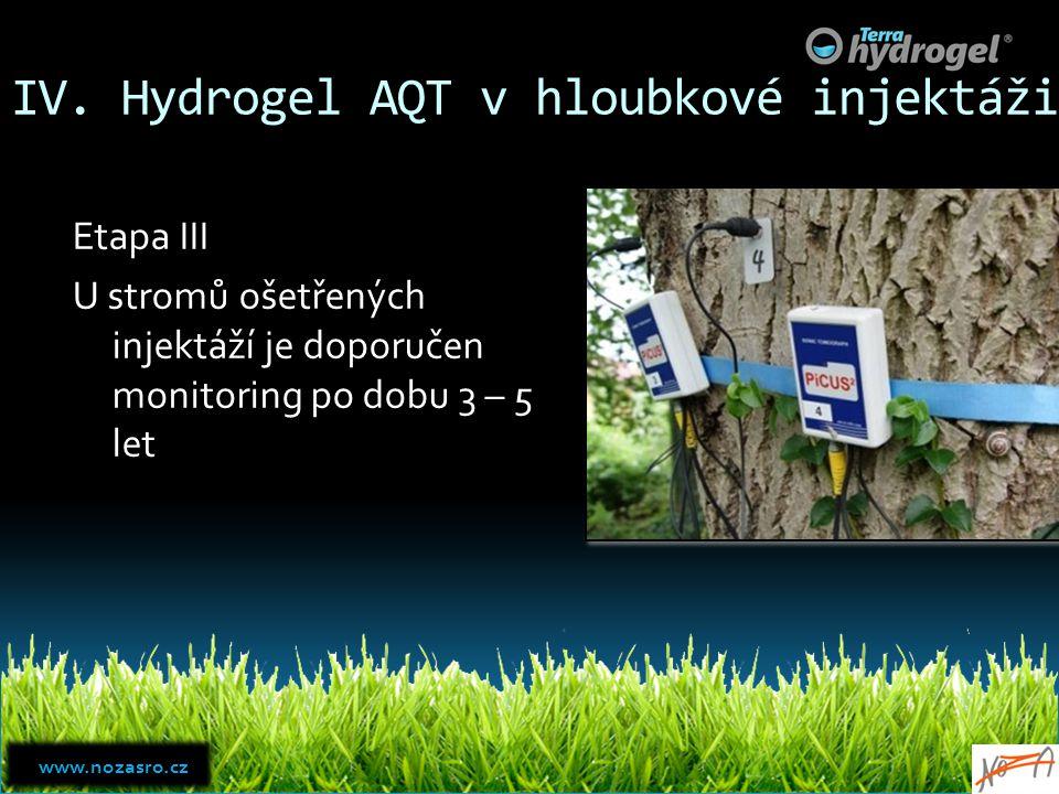 IV. Hydrogel AQT v hloubkové injektáži Etapa III U stromů ošetřených injektáží je doporučen monitoring po dobu 3 – 5 let www.nozasro.cz www.nozasro.cz