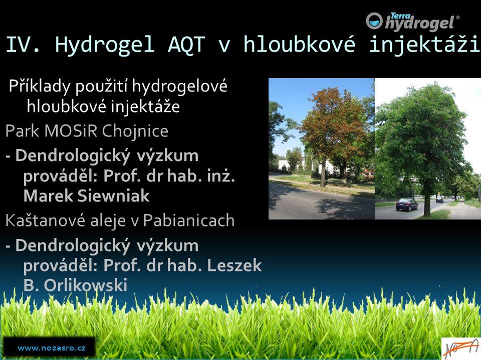 IV. Hydrogel AQT v hloubkové injektáži Příklady použití hydrogelové hloubkové injektáže Park MOSiR Chojnice - Dendrologický výzkum prováděl: Prof. dr