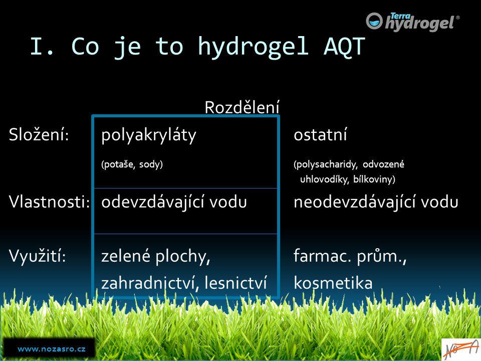 I. Co je to hydrogel AQT Rozdělení Složení:polyakrylátyostatní (potaše, sody)(polysacharidy, odvozené uhlovodíky, bílkoviny) Vlastnosti:odevzdávající