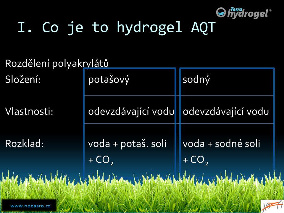 I. Co je to hydrogel AQT Rozdělení polyakrylátů Složení:potašový Vlastnosti:odevzdávající vodu Rozklad:voda + potaš. soli + CO 2 sodný odevzdávající v