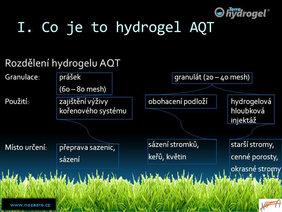 I. Co je to hydrogel AQT Rozdělení hydrogelu AQT Granulace:prášek (60 – 80 mesh) Použití:zajištění výživy kořenového systému Místo určení:přeprava saz