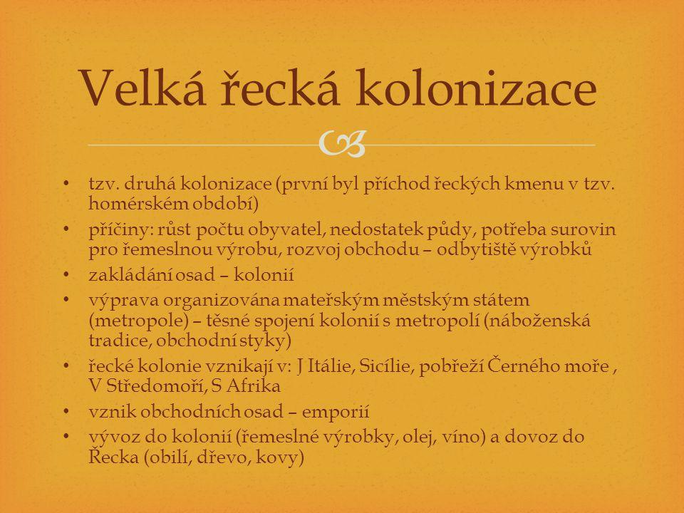  tzv. druhá kolonizace (první byl příchod řeckých kmenu v tzv. homérském období) příčiny: růst počtu obyvatel, nedostatek půdy, potřeba surovin pro ř